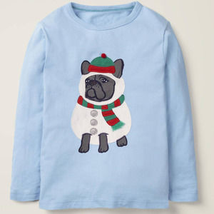 Mini Boden Festive Dress-Up Tee Provence Blue Dog